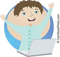 pomyślny, laptop, człowiek, handlowy