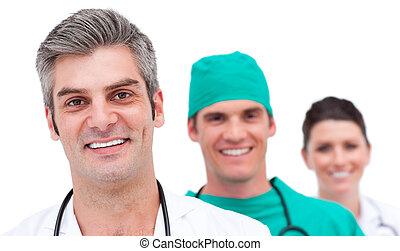 pomyślny, medyczny zaprzęg, portret