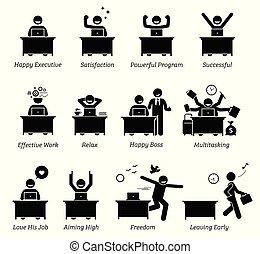 pomyślny, szczęśliwy, pracujące biuro, skuteczny, usatysfakcjonowany, wykonawca, pracownik, workplace., works., cieszący się