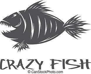 pomylony, fish, wektor, projektować, szablon, maskotka