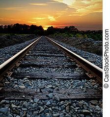 popędzać, zachód słońca