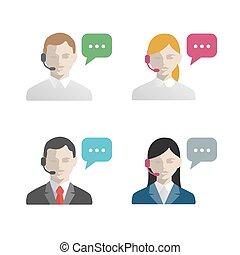 poparcie, środek, avatar, rozmowa telefoniczna