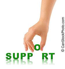 poparcie, słowo, ręka