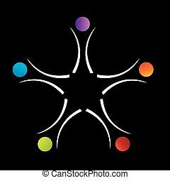 poparcie, teamwork, logo