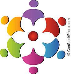 poparcie, teamwork, logo, kwiat