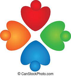 poparcie, teamwork, logo, serca