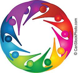 poparcie, teamwork, ludzie, logo