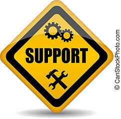 poparcie, wektor, znak
