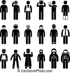 poprawny, odziewać, bezpieczeństwo, nosić, jednolity