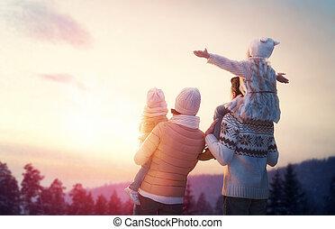 pora, rodzina, zima