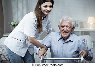 porcja, niepełnosprawny, pielęgnować, starszy człowiek