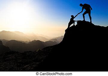 porcja, para, teamwork, hiking, ręka