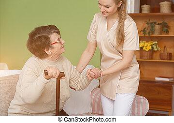 porcja, pielęgnować, dama, starszy