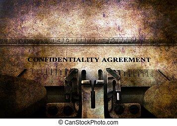 porozumienie, poufny, maszyna do pisania