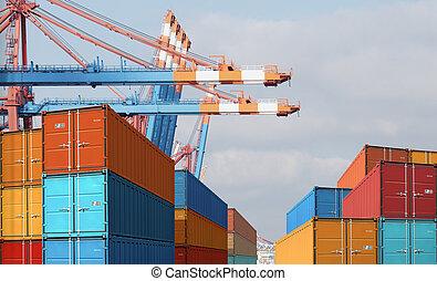 port, ładunek, eksport, kontenery, import