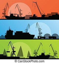 port, przemysłowy przewóz, ilustracja, statki, wektor, wybrzeże, zbiór, tło, sylwetka, żuraw, krajobraz