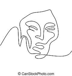 portret, abstrakcyjny, kobieta