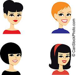 portret, avatar, kobiety, seria