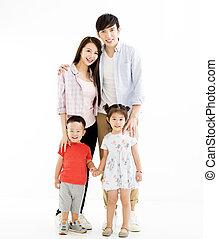 portret, biały, odizolowany, rodzina, asian