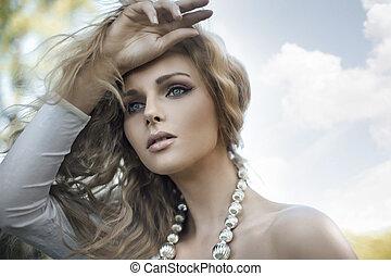 portret, blond, młody, piękno