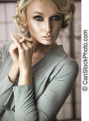 portret, blondynka, kobieta, młody