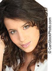 portret, brunatno-haired, kobieta, młody