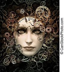 portret, cg, steampunk, 3d