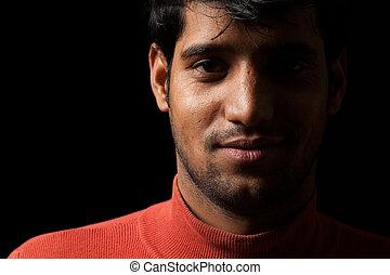 portret, człowiek, indianin, młody