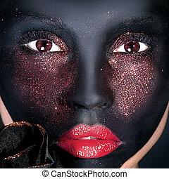 portret, czarna kobieta, mask., twórczy