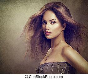 portret, długi, dziewczyna, włosy, podmuchowy, wzór, fason