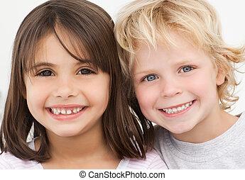 portret, dzieci, kuchnia, dwa, szczęśliwy