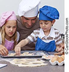 portret, dzieci, kuchnia, ojciec, wypiek