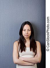 portret, dziewczyna, fałdowy herb, asian