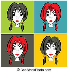 portret, dziewczyna, ilustracja