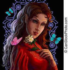 portret, elf, róża, piękny