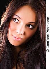 portret, kobieta, brunetka, młody