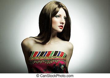 portret, kobieta, fason, studio, młody