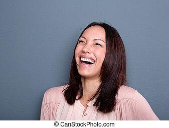 portret, kobieta, młody, śmiech