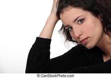 portret, kobieta, młody, zmartwiony
