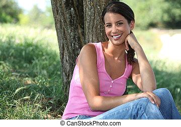 portret, kobieta, outdoors