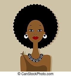 portret, kobieta, projektować, twój, afrykanin