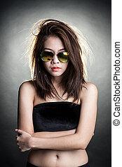 portret, kobieta, sunglasses, fason