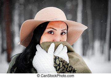 portret, kobieta, zima, młody
