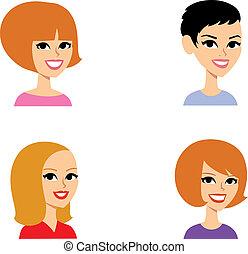 portret, komplet, rysunek, avatar