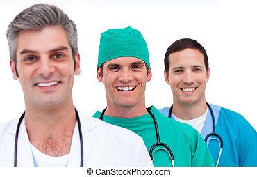 portret, mężczyźni, drużyna, medyczny
