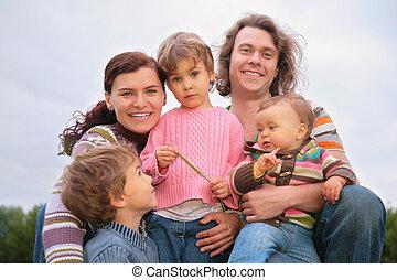 portret, piątka, rodzina, natura