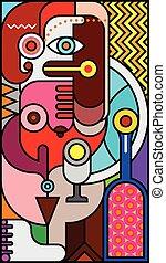 portret, plamiony, abstrakcyjny, kobieta, szkło