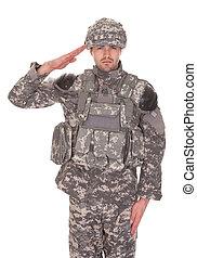 portret, pozdrawianie, wojskowy, człowiek, jednolity