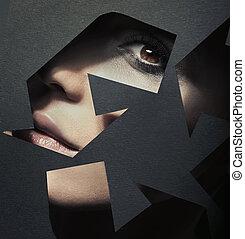 portret, recycling, znak, mający kształt