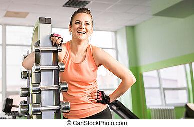 portret, sala gimnastyczna, kobieta, młody, śmiech
